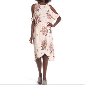 Leith cold shoulder floral MIDI dress